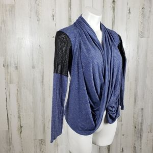 Astars faux leather sleeves wrap top size XS